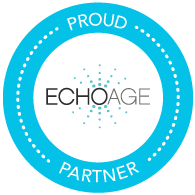 ECHOage logo bright blue and black