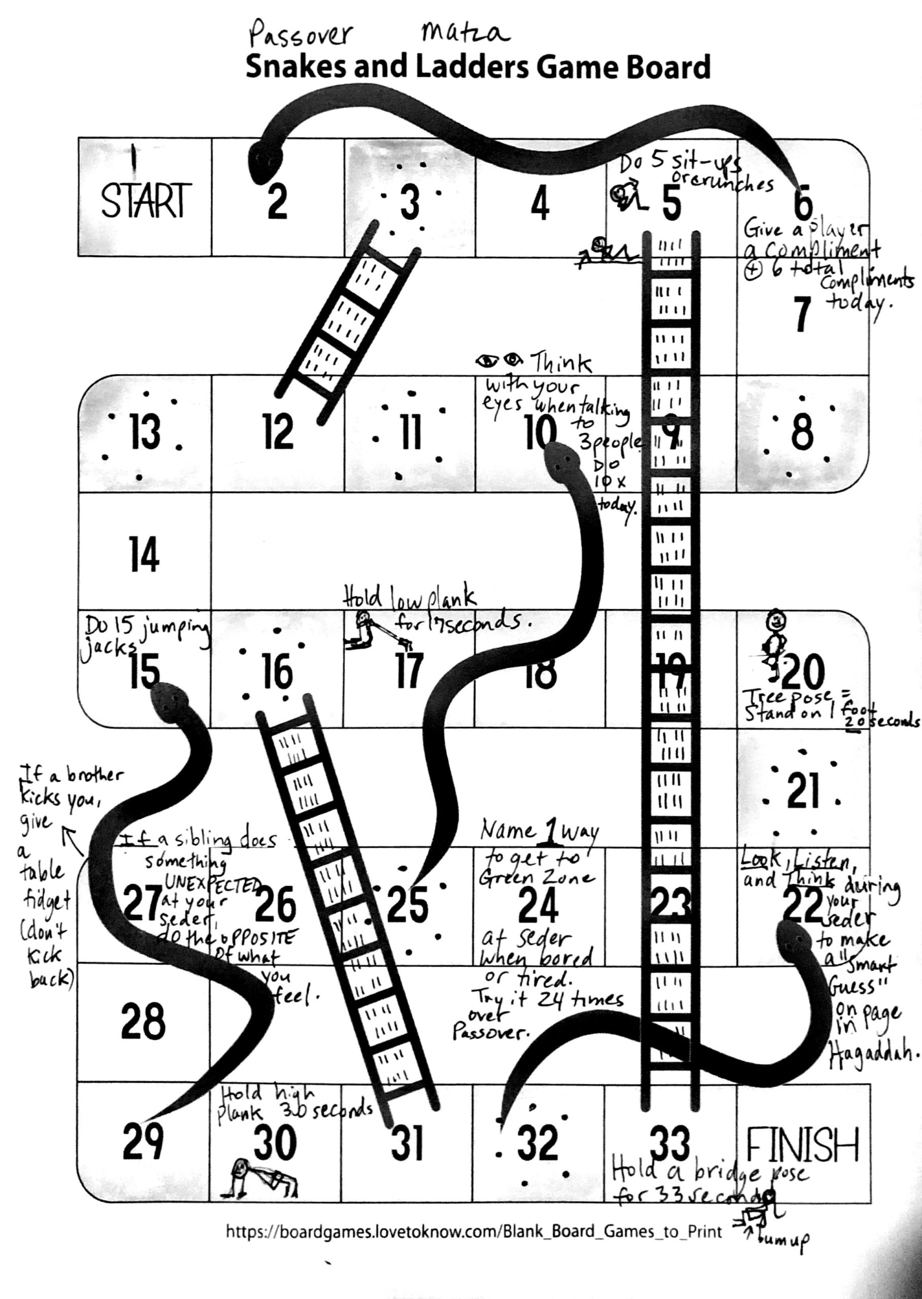 Game Board for Passover Snakes and Matza Ladders Seder game