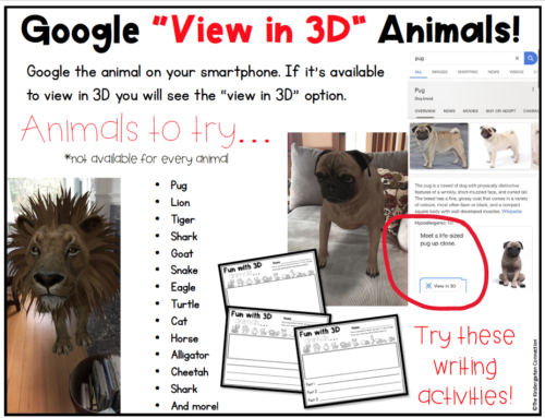 "Writing Activity: Google ""View in 3D"" Animals"